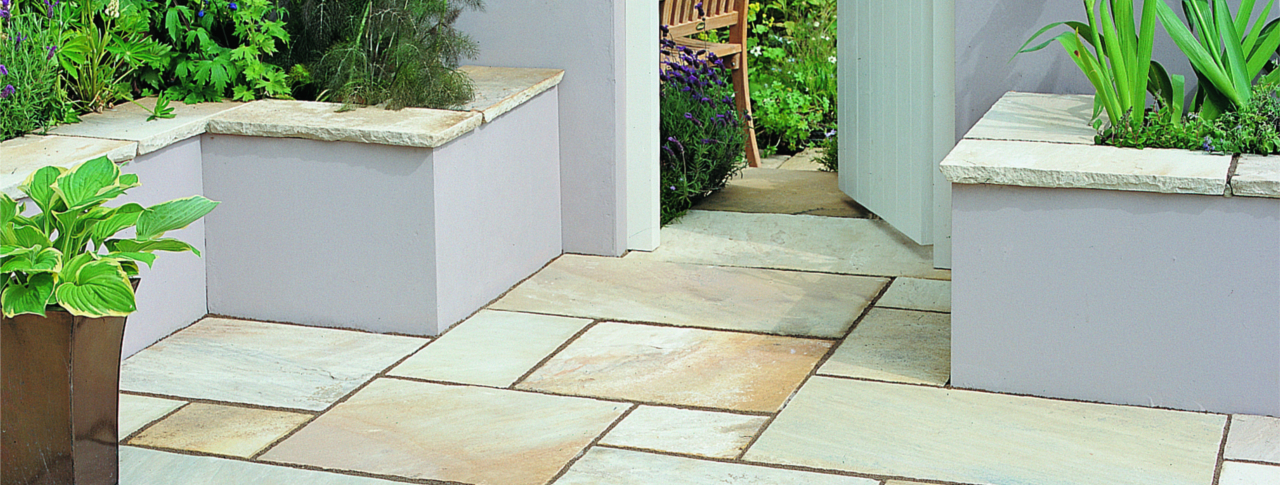 Fossil Buff Indian Stone Paving
